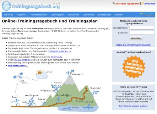 Screenshot Trainingstagebuch.org